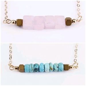 Jewelry - Turquoise/Rose Raw Stone Necklace Pick One